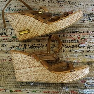 Leather straps wedges